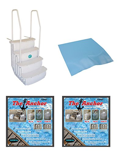 NEW Main Access iStep Above Ground Pool Entry Ladder w/ Mat Pad + 2 Sand Weights