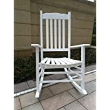 Rockingrocker - A001WT White Porch Rocker/Rocking Chair - Easy To Assemble - Comfortable Size - Outdoor or Indoor Use