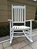 Wooden Outdoor Chairs Rocking Rocker - A001WT White Porch Rocker / Rocking Chair - Easy To Assemble - Comfortable Size - Outdoor or Indoor Use