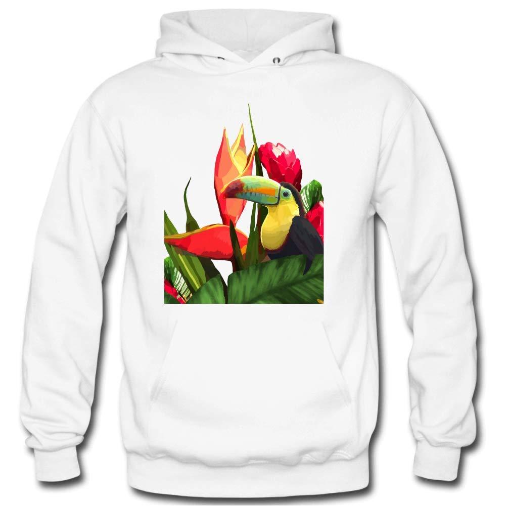 Mens Toucan Tropical Banana Leaves Bouquet Long Sleeve Leisure Hooded Sweatshirt Cartoon