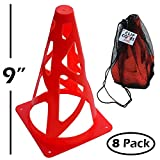 9 inch Orange Traffic Cones - 8 Pack Soccer Training Cones and Carry Bag, Collapsible for Safety
