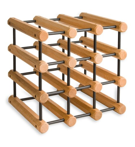 (J.K. Adams Ash Wood 12-Bottle Wine Rack, Natural with Black Pegs)