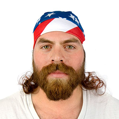 Mullet Headband Wig - The Freebird Biker Skull Cap, 4th of July Headband, Funny Hats, Gag Gifts for Men