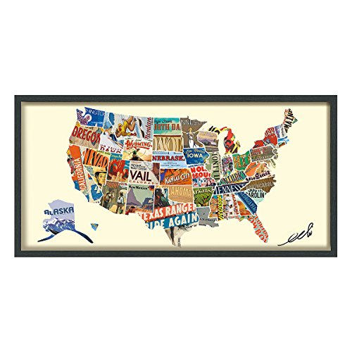 Empire Art Direct Across America Dimensional Art Collage Hand Signed by Alex Zeng Framed Graphic Wall Art
