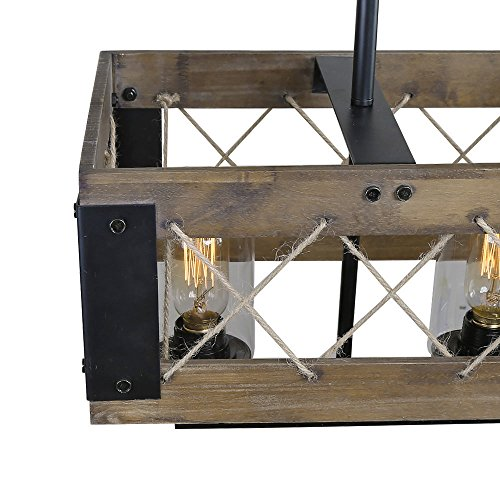 LALUZ Wood Kitchen Island Lighting 5-light Pendant