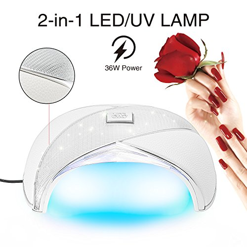 Newest UV LED Nail Lamp 36W Nail Dryer UV Gel Light for Gels Nail Polish with Sensor (White) (Uv Nail Lamp 220v)