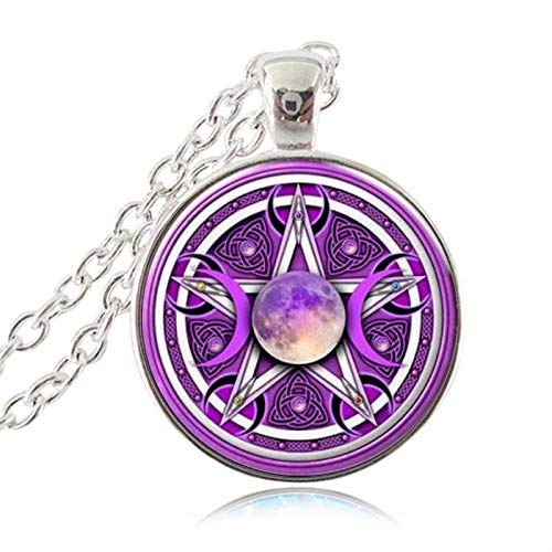 Linker Wish Moon Pendant Necklace Triple Moon Goddess Pendant Pentagram Necklace Witch Jewelry Glass Dome Wiccan Necklace Chain Charm Wicca Jewellery LWD