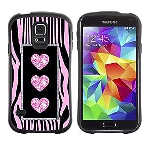 Suave TPU Caso Carcasa de Caucho Funda para Samsung Galaxy S5 SM-G900 / Zebra Glitter Jewel Bling Pink / STRONG