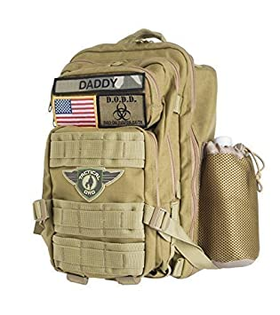 Tactical Style Khaki Tactical Dad Diaper Bag Backpack Made w//Military Grade Materials Includes Changing Mat and 3 Patches//Badges