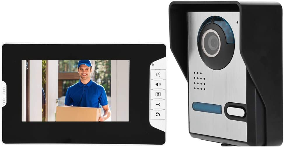 Video Doorbell Kit Doorbell Intercom Kits Smart Security Camera System Home Protection Devices with 7-Inch TFT LCD Screem Night Vision Function Super Rainproof(US Plug)