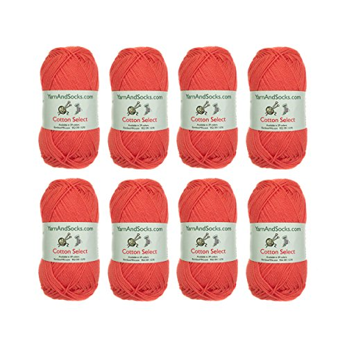 Cotton Select Sport Weight Yarn - 100% Fine Cotton - 8 Skeins - Col 203 - Coral -