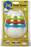 JW Pet Company 43505 Treat Tower Toys for Pets, Small, White/Rings of Blue, Orange, Green