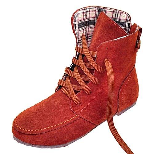Minetom Damen Kurz Schlupfstiefel Martin Schneestiefel Outdoor Boots Warme Gefütterte Schnürstiefeletten Flache Schuhe Rot Baumwolle