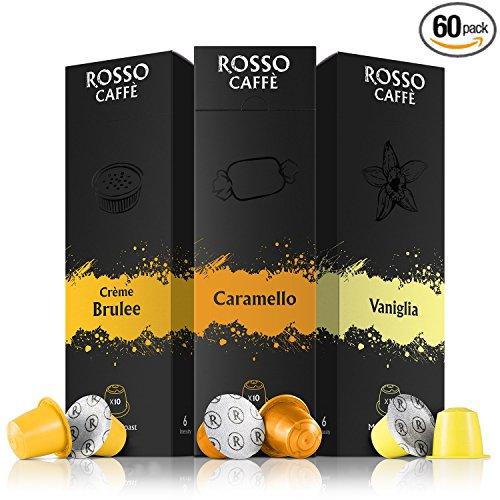 (Nespresso Compatible Capsules - Flavors Pack (60 Pods) - Fit to All Original Line Machines - By Rosso Caffe)