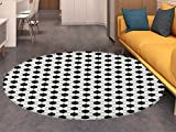 Soccer Round Rugs for Bedroom Abstract Football Ball Pattern Monochrome Geometric Design Sports Fun Activity Circle Rugs for Living Room Black White