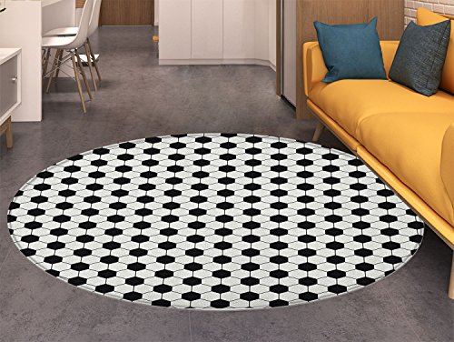 Soccer Round Rugs for Bedroom Abstract Football Ball Pattern Monochrome Geometric Design Sports Fun Activity Circle Rugs for Living Room Black White ()