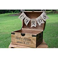 Personalized Wedding Card Box with Engraved Name and Date and Burlap Cards Banner - Wedding Card Box - Rustic Wooden Card Box - Rustic Wedding Card Box - Rustic Weddings