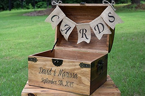 Personalized Wedding Card Box with Engraved Name and Date and Burlap Cards Banner - Wedding Card Box - Rustic Wooden Card Box - Rustic Wedding Card Box - Rustic (Chest Card Box)