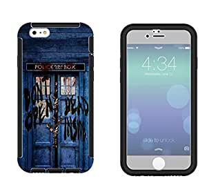 597 - Doctor Who Tardis Police Call Box Design iphone 4 4S Full Body CASE With Build in Screen Protector Rubber Defender Shockproof Heavy Duty Builders Protective Cover