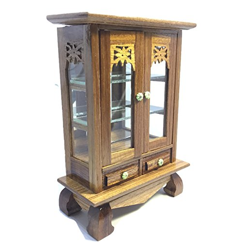 Thai Glass Cabinet Wood Dollhouse Miniature Cabinet with Glass Doors Furniture - Face Guide Frames Glasses