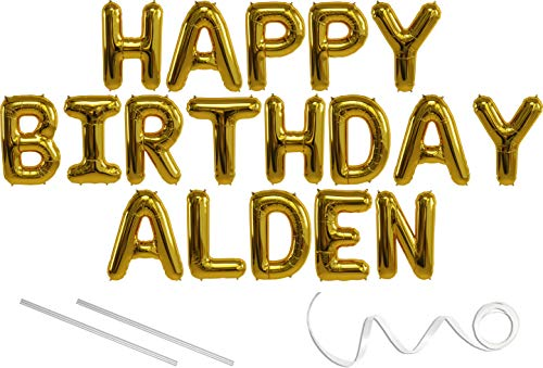 Hanging Alden - Alden, Happy Birthday Mylar Balloon Banner - Gold - 16 inch Letters. Includes 2 Straws for Inflating, String for Hanging. Air Fill Only- Does Not Float w/Helium. Great Birthday Decoration