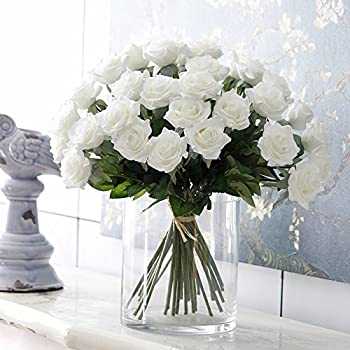 "Felice Arts Artificial Flowers 17"" 6Pc Silk Rose Bouquets for Valentines Day, Wedding, Home Decorations (White)"
