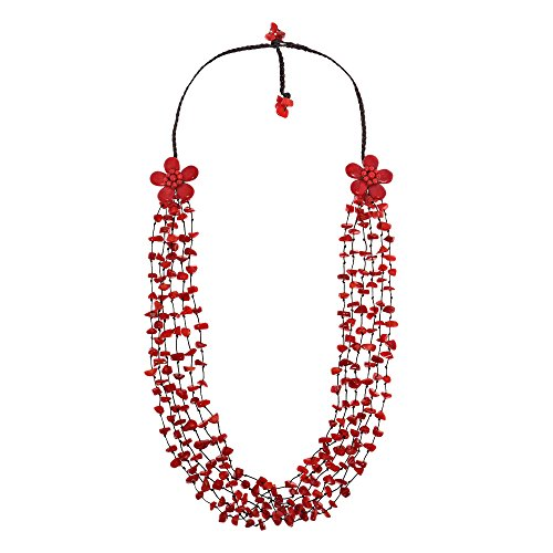 - AeraVida Long Double Reconstructed Red Coral Flowers and Stone Nuggets Strand Necklace