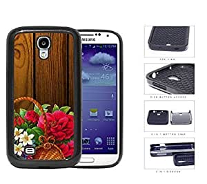 Beautiful Art Flower Painting in Basket with Wood Background 2-Piece High Impact Dual Layer Black Silicone Cell Phone Case Samsung Galaxy S4 I9500
