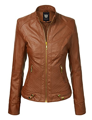 WJC747 Womens Dressy Vegan Leather Biker Jacket L Camel