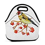 Convenient Lunch Box Tote Bag Rowan,Watercolor Painting Style Cute Wild Bird on Branch with Berries Artwork, Earth Yellow Red Black,thermos lunch bag for men