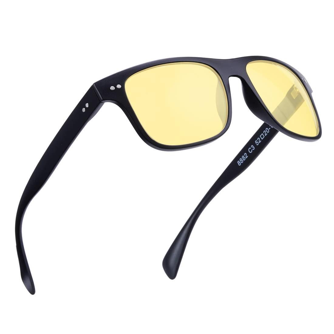 Black  Night Vision Lens BRUWEN Night Driving Glasses Wayfarer Sunglasses for Men Women Polarized Uv Predection Hd Lens,UltraLight Fashion Square