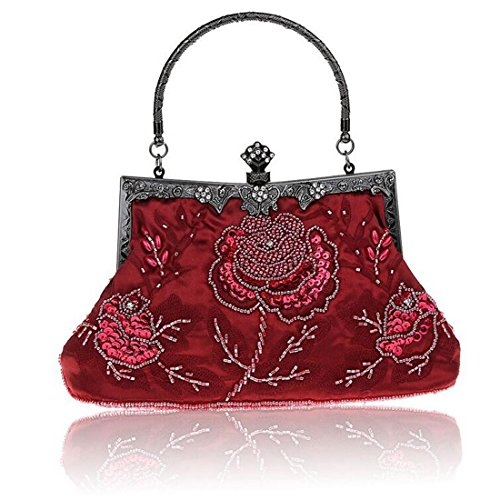 Clutches Bags Wedding Women Wallet Large Bridal Embroidered Handbags Rose SEALINF Burgundy Purse Party Bead Retro HZXWqvv1I
