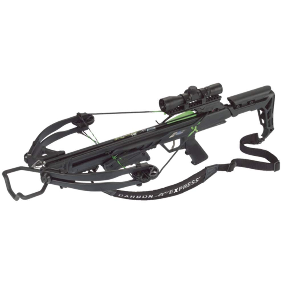 Carbon Express Blade X-Force Blade Crossbow Ready-to-Hunt Kit (Rope Cocker, 3 Bolt Quiver, 3 Crossbolts, Rail Lubricant, 3 Practice Points, 4x32x 40mm), Black, One Size