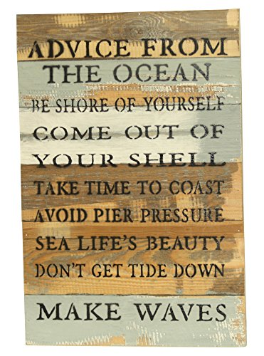 Sweet Bird and Company quotAdvice From The Oceanquot Coastal Sign Blue Whisper Finish