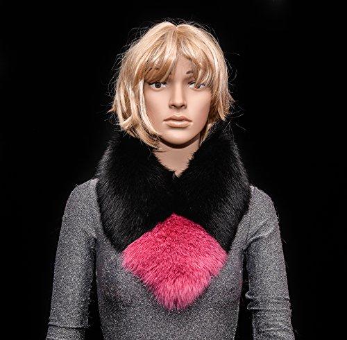 Saga Furs Jet Black vs Hot Pink Blue Fox Fur Handmade Scarf Neck Wrap by Your Furrier