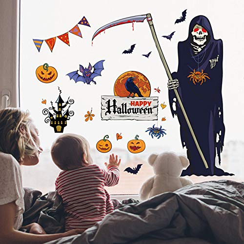 OTTATAT Wall Stickers for Bedroom Girls 2019,60x90cm Halloween Witch Background Decorated Living Room Bedroom s Grim Reaper s Easy to Stick Wedding Anniversary BeachGift for boy Free Deliver]()