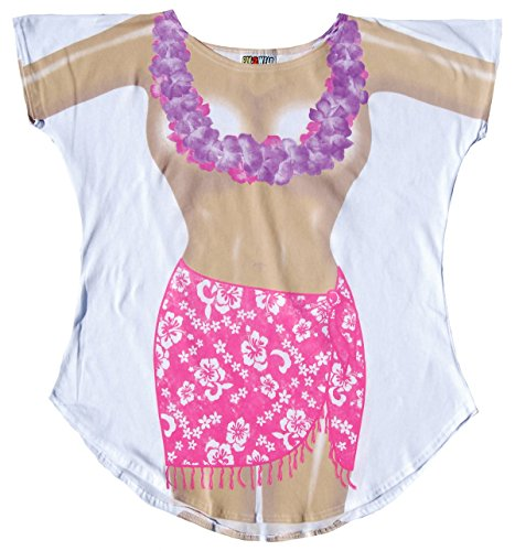 Fantasy Cover-ups Women's Topless Hibiscus Fantasy Swimsuit Cover-Up, White, Plus-Size -