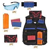 Kids Tactical Vest Kit for Nerf Guns N-Strike Elite Series, Tactical Vest Jacket with 20 Refill Darts & 1 Reload Clips & 1 Face Tube Mask & 1 Protective Glasses & 1 Hand Wrist Band (40 Foam Darts)