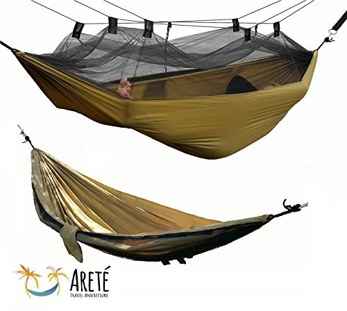 #1 Mosquito Net Hammock by Arete, Camping Hammocks Include Carabiners, Rope, Guy Lines, FREE E-BOOK & Instructional VIDEOS! Portable, Relaxing, Comfortable Outdoor Fun, Ultralight, Strong & Durable!