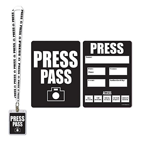 Pack of 12 Award Night Press Pass Cards with Matching Lanyard/Card Holder 25