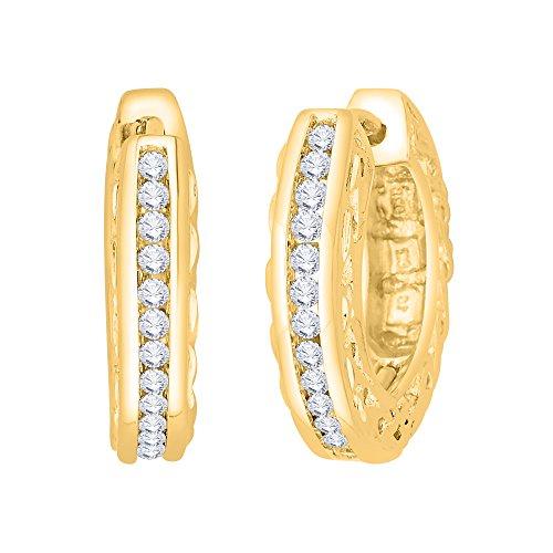 KATARINA Channel Set Diamond Filigree Hoop Earring in 14K Yellow Gold (1/2 cttw, J-K, SI2-I1)