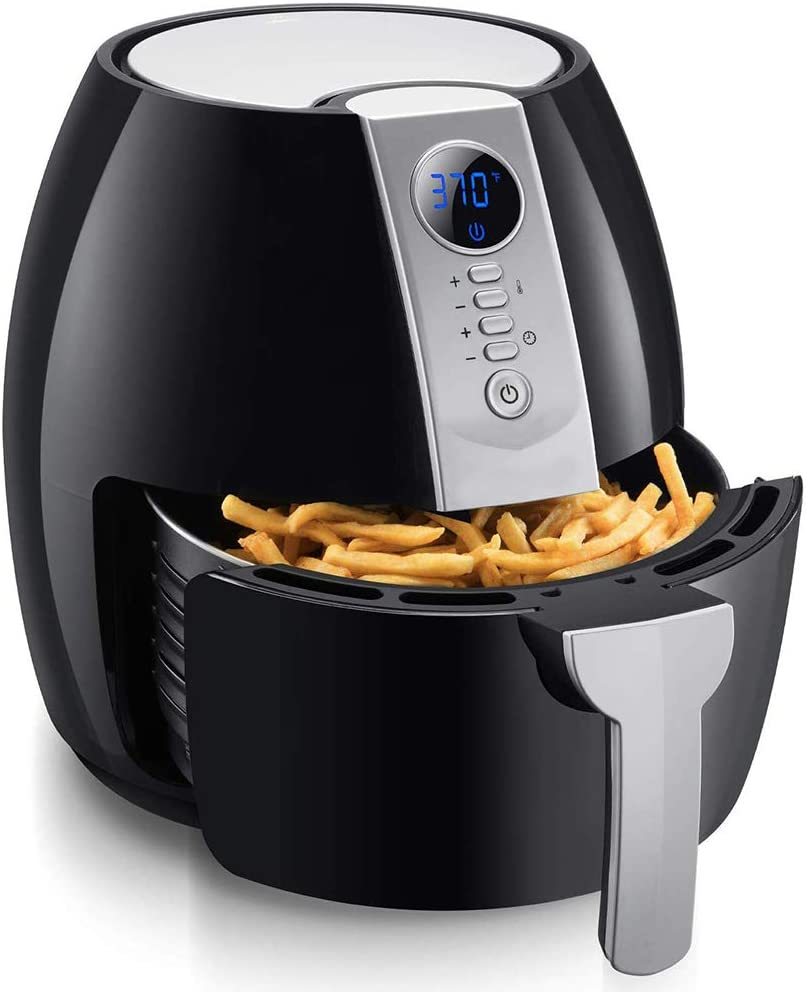 Air Fryer, 4.2 Quart Electric Digital Air Fryers Oven Oilless Cooker, Personal Compact Healthy Fryer with LCD Digital Screen and Nonstick Frying Pot (Black)