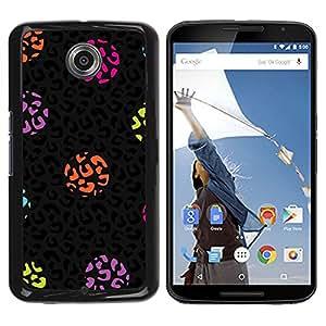 iKiki Tech / Estuche rígido - Dot Leopard Animal Pattern Black - Motorola NEXUS 6 / X / Moto X Pro