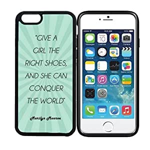 iphone 6 ( display) RCGrafix Give A Girl The Right Shoes And She Can Conquer The World Marilyn Monroe Quote - Teal Rays - Designer BLACK Case - Fits Apple iphone 6 - Protected Cell Phone Cover Bonus Iphone Apps Business Productivity Review Guide