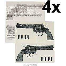 4 x Gun Tattoo - 4 Guns Tattoo - Gangster Revolver Tattoo
