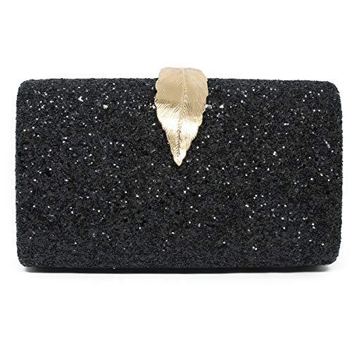 (imeetu Women Sparkling Envelope Clutch Bag Evening Handbag Purse Golden Leaf With Chain Strap(Black))