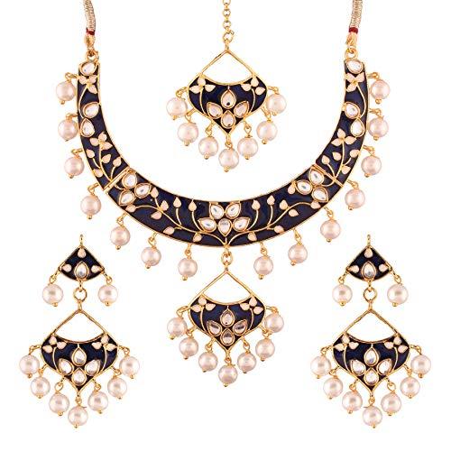 Aheli Traditional Jewelry Wedding Kundan Meenakari Necklace Earring Set for Women Girls (Navy Blue)