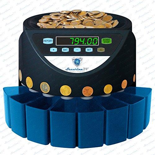Münzzähler Münzzählmaschine Münzsortierer Geldzählmaschine SR1200 von Securina24® (Schwarz - Whitelabel - SBW)