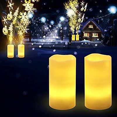 Proyector LED De Navidad Enciende Velas Sin Llama Con Patrón De ...