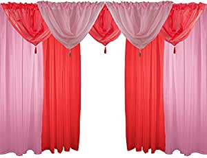 """PINK & RED 9 PIECE VOILE SET 48"""" 122CM ROD POCKET CURTAINS DRAPES & SWAGS"""